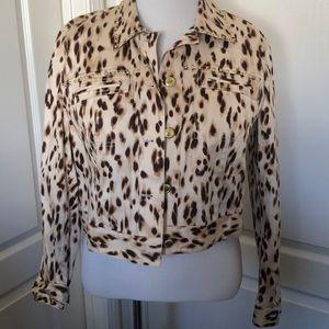 NWT Chico's animal print jacket w/gold studs sz 2